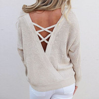 788992f6ee Autumn Women Knitted Sweaters Winter Sexy Backless Lace Up Sweater Fashion Pullovers  Long Sleeve Loose Tops WS2199O