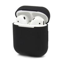 iphone oreille couleur écouteur achat en gros de-Silicone étui de protection pour Apple AirPods Ultra mince couverture pour iPhone Airpods écouteurs intra-auriculaires Solid Color étui pour écouteurs sans fil
