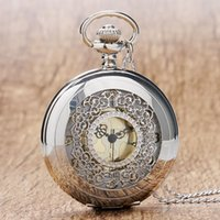 часы для женщин серебристый оптовых-Retro Hollow Silver Tone Quartz Pocket Watches Women Men Watch Necklace Pendant with Chian 2018 High Quality  Gift