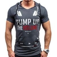 ingrosso magliette di stampa muscolare-Felpa estiva Sport Muscle Man Casual T-shirt con cappuccio Manica corta Slim Tight Mens Letter Print Bottom Shirt