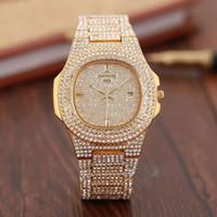 часы из розового золота для дам оптовых-Новый известный роскошный Алмаз watcht Кварцевые наручные часы Рождественский подарок для дамы женщин золото розовое золото серебро Бесплатная доставка