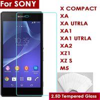 xperia s telefonu toptan satış-2.5D 0.26mm Temperli Cam Telefon Ekran Koruyucu için Sony xperia X KOMPAKT XA XA UTRLA XA1 XA1 UTRLA XA2 XZ1 XZ S M5