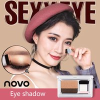 Wholesale matte naked palette for sale - Group buy NOVO Two Color Shimmer Matte Lazy Eyeshadow Palette With Brush Korean Style Eye Makeup Naked Nude Eye Shadow Stamp