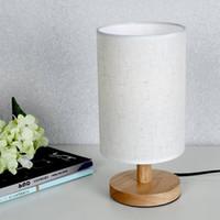 Wholesale small plugging lamp - European Style Modern Minimalist Wood Table Lamp USB Plug Bedroom Bedside Lamp Indoor Living Room Bedroom Night Light Small T
