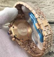 ouro k8 venda por atacado-5 relógio de estilo K8 fábrica 42MM 26322OR.ZZ.1222OR.02 VK Quartzo DATA azul Dial 18K Rose Gold diamante inlay Chronograph Mens Watch Watches