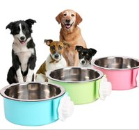 Wholesale Pet Food Containers - Stainless Steel hanging dog bowls Feeder Water Bowl For Pet Dog Cat Food container Water Dish