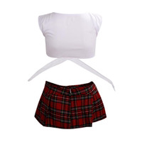 Wholesale sexy japanese clothing for sale - IMC White with Red School sexy lingerie Game uniform Student japanese kimono girls Maid Costumes erotic clothing pyjamas Charm