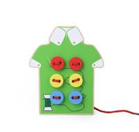 jouets à fileter achat en gros de-Enfants bébé jouet en bois à coudre à coudre les perles de bouton de filetage Conseil de laçage préscolaire