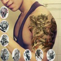 gefälschte drachentätowierungen großhandel-Coole Tiger Lion Dragon Arm Schulter wasserdicht temporäre Fake Tattoo Aufkleber