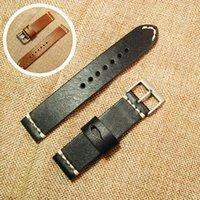 fivela de aço inoxidável artesanal venda por atacado-Pulseira de pulseira de couro genuíno de 20mm com fivela de aço inoxidável relógio artesanal cinta acessórios