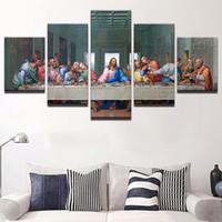 15 resim çerçevesi toptan satış-HD Baskılı Tuval Modüler Resimler İsa Boyama Duvar Sanatı Çerçevesi 5 Parça Son Supper Peyzaj Poster Oturma Odası Dekorasyon