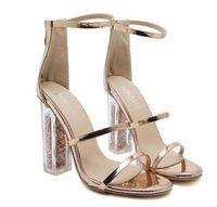 f32fde4a4b3fc2 absatz sandalen transparent gold großhandel-Neuestes Frauen-geöffnete Zehe- Riemchen-Bügel-