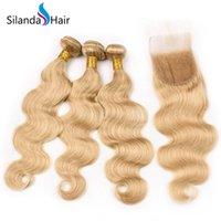 satış kapatma için saç paketleri toptan satış-Silanda Saç Sıcak Satış # 27 Vücut Dalga Brezilyalı Remy İnsan Saç 4X4 Ile 3 Dokuma Paketler Danteller Kapatma Ücretsiz Kargo
