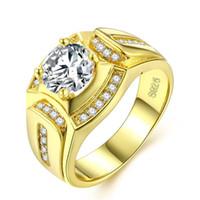 ingrosso impostazioni dell'oro giallo-Massive Mens Ring Taglio Tondo Zirconia 18k Oro giallo riempito Impostazioni Polo Moda Anello Dimensione 8,9,10