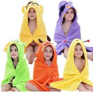 Wholesale cute summer pajamas - 5 Color Kids Baby Bathrobe Cotton Baby Cute Shawl Colorful Hooded Animal Pajamas Child Towel EEA189