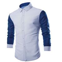 nuevos estilos de blusa coreana al por mayor-Camisa de Patchwork de estilo coreano Boy Slim Blusa Office Clothes Camisa de hombre de marea Brief Shirts Spring New Gentleman de manga larga Casual Blouse