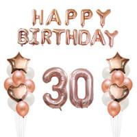 ingrosso palloncini alfabeto-35pcs 18 30 50 anni Happy Birthday Balloons Lettere dell'alfabeto degli adulti Carta Banner 32 '' Oro rosa Numero foil balloon Decor