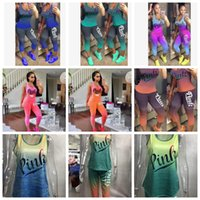 Wholesale 12 month girl outfit - women Love Pink Letter Outfit summer Sleeveless Tank Top Vest Tights Pants Tracksuit Gradient color Sportswear pink casual outfit KKA5132