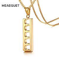 cadenas huecas masculinas al por mayor-Egipcio Punk Gold Color Bar Necklace Hollow Colgante Columna romana Gargantilla geométrica Charm Men Long Chains Jewelry Male Gifts