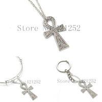 Wholesale jewellery crosses necklace - 12pcs lot Ankh Cross Necklace Egypt Symbol Of Heiroglyphics Traveller Jewellery necklace keyring bracelet