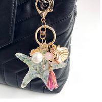 acessórios para celular venda por atacado-Cartoon Criativo Starfish Shell Pingente Moda Unisex Chaveiro Pingente Bolsa Bolsa Car Cell Phone Acessórios Chaveiros