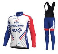 Wholesale cycling jersey long sleeve summer - SPRING SUMMER 2018 Groupama fdj PRO TEAM LONG SLEEVE CYCLING JERSEY + BIB PANTS SIZE:XS-4XL