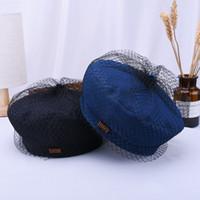 chapéu preto dos pintores venda por atacado-Best selling explosões outono e inverno retro denim boina azul literária simples malha crepe chapéu selvagem preto chapéu pintor maré