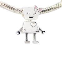 pembe bayan takılar toptan satış-2018 Yaz Yeni Otantik 925 Ayar Gümüş Boncuk Charm Fit Pandora Bilezik Bileklik Bella Bot Charm Pembe Yay Emaye Lady DIY takı