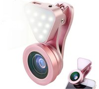 Wholesale flash brightness - Phone Camera Lens with Beauty Led Flash Fill Light Adjustable Brightness Wide Angle 15X Macro Clip-on Lens for smartphonea retail package