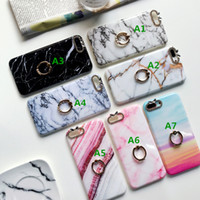 Wholesale green housing designs - Luxury Housing Cover Soft Casing Phone Protective Diamond Ring Holder Shell Marble Design Case for iPhone X 6 6S 7 8 Plus