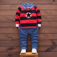 Wholesale Boys Stripe Collared Shirts - Baby Boy Clothes Spring Autumn New Suit Stripes Stars Long-sleeved Shirt + Casual Trousers Cotton Trend Set