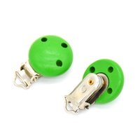 Wholesale Wooden Clip For Pacifier - 5pcs lot Wooden Baby Children Green Pacifier Holder Clip Infant Cute Round Nipple Clasps For Baby Product 3 Hole 4.4cm x 2.9cm