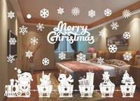 tasarım çanları toptan satış-YENİ Tasarım Merry Christmas Pencere Süslemeleri Noel Baba Geyik Kardan Adam Kar taneleri Bells Noel Çıkartmaları Ner Yıl Enfeites
