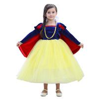 karikatür kız kar beyaz toptan satış-Kar Beyaz 3-10 Yıl Prenses Kız Elbise Kollu Cadılar Bayramı Partisi Elbise Çocuklar için Çocuk Karikatür Cosplay Kostüm