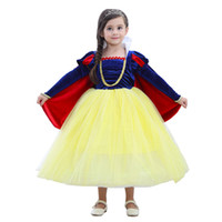 Wholesale snow white cartoon girls - Snow White 3-10 Years Princess Girls Dresses Sleeve Halloween Party Dress Children Cartoon Cosplay Costume for Kids