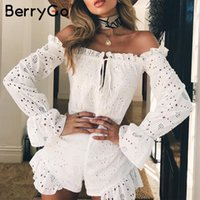 c7e3d028e76 BerryGo Off shoulder hollow out sexy romper Women ruffles cotton white  jumpsuit overalls Casual beach summer playsuits macacao