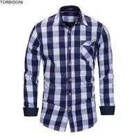new fashion dress blouse 2018 - Tops Spring Cotton Plaid Shirts Men Fashion Long Sleeve Casual Blouse New Brand Business Dress Shirt Men Blouses Chemise Homme