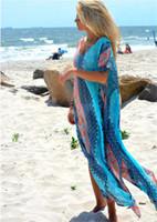 Wholesale robes plage - Summer Beach Cover up Women Swimsuit Bikini Vintage Floral Loose Chiffon Beach Sunscreen Clothing Robe De Plage Saida De Praia