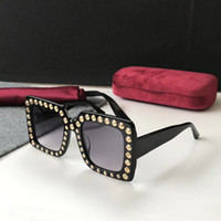 Wholesale Elegant Tops For Women - Luxury 0197 Sunglasses For Women Large Frame Elegant Special Designer with Rivets Frame Built-In Circular Lens Top Quality Come With Case