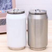 latas de metal tapas al por mayor-2018 latas de cola de acero inoxidable creativas calientes capas dobles tazas de cerveza de agua fría aisladas taza con tapa y paja