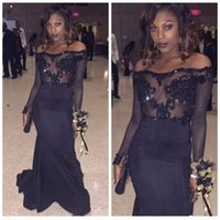 Wholesale African Lace Wears - 2018 African Black Off the Shoulder Mermaid Prom Dresses Illusion Bodices Lace Appliques Sheer Long Sleeves Evening Gowns Vintage Party Wear