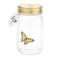 желтая стеклянная банка оптовых-Romantic Glass LED Lamp Buerfly Jar Valentine Children Gift Decoration Yellow