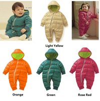 Wholesale Kids Winter Snowsuits - Newest Autumn Winter Baby Clothes Candy Color Baby Jumpsuit with Zipper Thickening Jumpsuit Kids Snowsuits Warm Baby Clothes