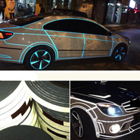 Wholesale Body Adhesive Tape - Car Sticker 1cm*5m Reflective Sheeting Tape Adhesive Film Reflect Auto Body Motorcycle Bike Vinyl Decal Style Decoration Shipping By Post