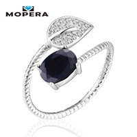 Wholesale natural sapphire rings sterling silver resale online - Lovely Leaf Natural Gemstone Sapphire Rings For Women Sterling Silver Engagement Wedding Jewelry Adjustable Fine Jewelry
