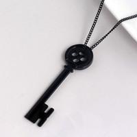 eski anahtar kolye askıları toptan satış-Sıcak Satış Yeni Geliş Erkekler Ve Kadınlar Için Cadılar Bayramı Kolye Vintage Siyah Anahtar Kolye Bırak Shiping