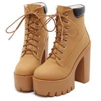 damas negro encaje hasta botas de tobillo al por mayor-Moda Primavera Otoño Plataforma Botines Mujeres Lace Up Thick Heel Martin Boots Ladies Worker Boots Negro Tamaño 35-40