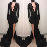 Wholesale Deep Illusion - Mermaid Long Sleeve Deep V Neck Sexy High Split Evening Gowns 2018 Sexy Black Prom Dress Beaded Lace Arabic Party Gowns BA5482