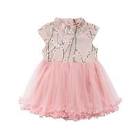 bebek kızı gelinlik rahat toptan satış-Yaz Tatlı Prenses Parti Çiçek Düğün Tutu Elbise Bebek Kız Için 6 M-4Y Rahat Sundress Balo