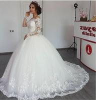 loja de roupas de noiva de renda branca venda por atacado-Sexy manga comprida vestido de baile vestidos de casamento Arábia Saudita Tule Lace Applique Beads vestidos de casamento branco